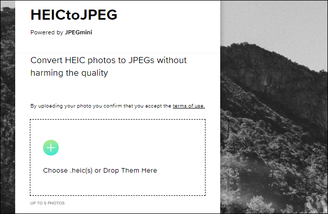 Drag and drop HEIC files from your computer to convert them on the HEICtoJPEG website.
