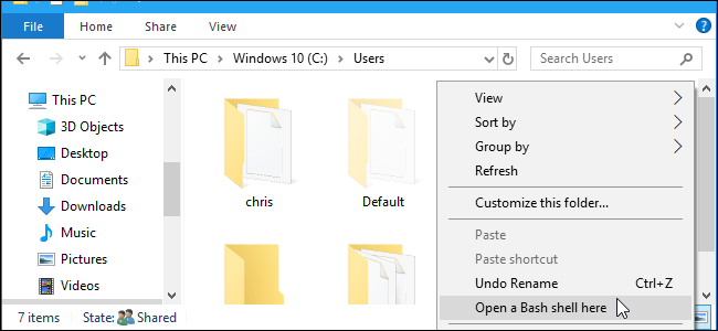 How to Quickly Launch a Bash Shell From Windows 10's File Explorer