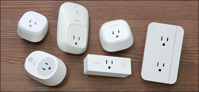 various smart plugs on a table
