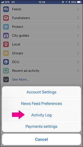 La memoria di Facebook: il registro attività