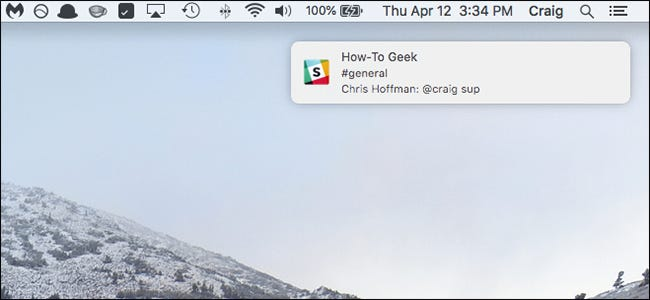 Notifications options are configured in the Notifications pane of System Preferences.