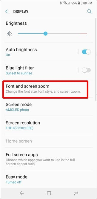 how to change the font setting on screen