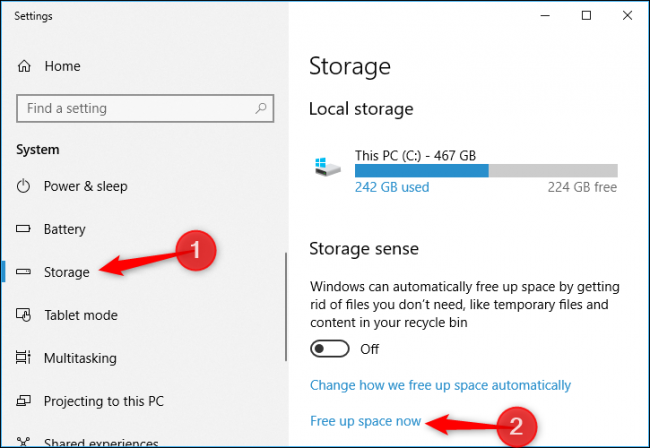 """2236e4f5fa Click the """"Free Up Space Now"""" link under Storage Sense. If you don t see  that option here"""