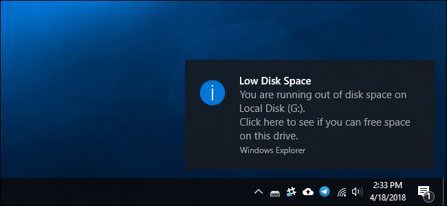 "How to Disable the ""Low Disk Space"" Warning on Windows"