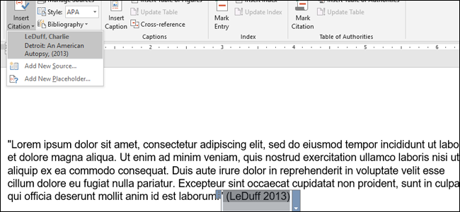 how to make apa citations in microsoft word