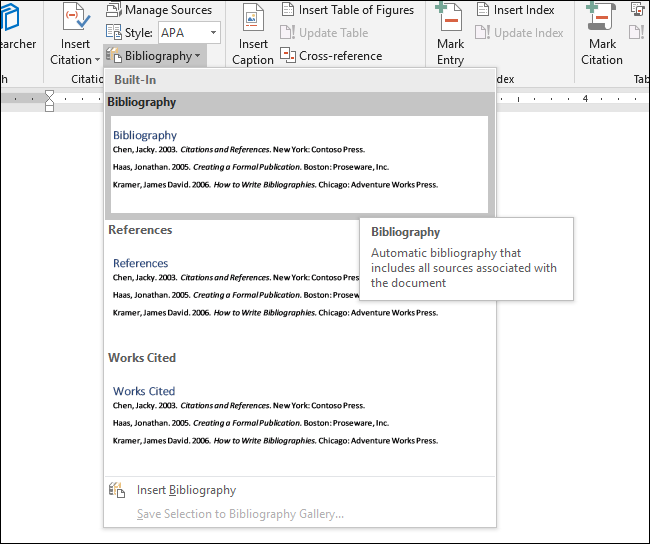 make a bibliography in word
