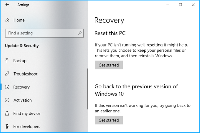 Go back to a previous version of Windows 10 recovery options