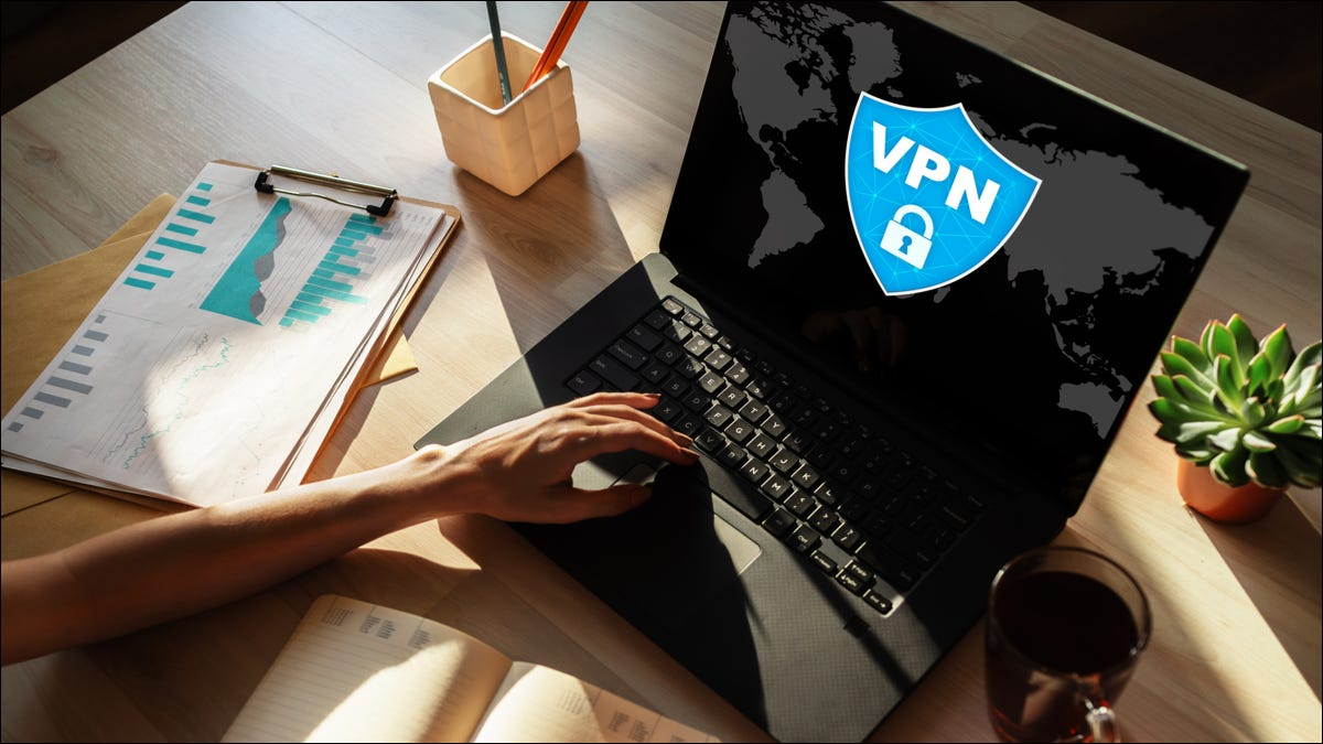 VPN in use on a laptop computer