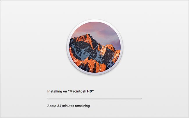 A progress bar showing the macOS installation process.