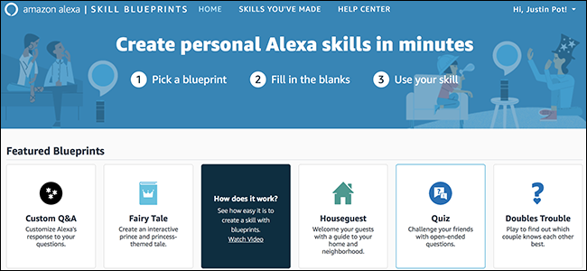 Skill blueprints lets you design your own alexa responses feedbox amazon just launched alexa blueprints meaning you can create custom responses for your echo and also set up a bunch of personalized games malvernweather Image collections