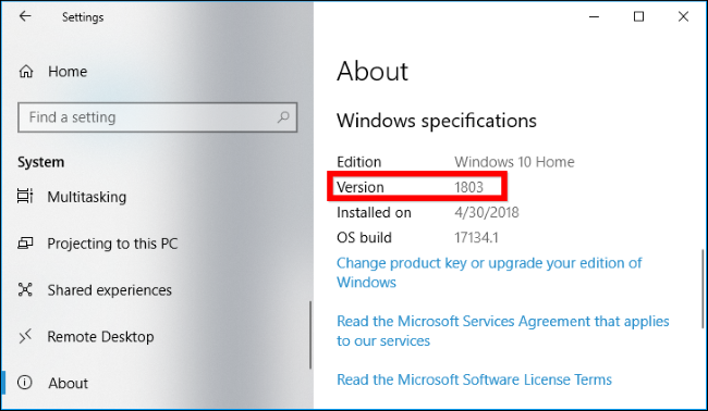 how to find what version of windows 10 i have