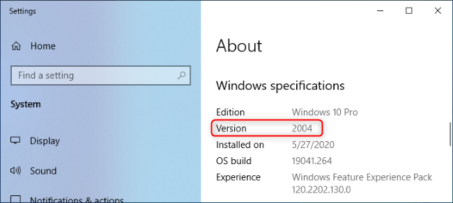 Windows 10 version 2004 shown in the About window.