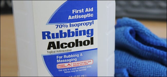 A bottle of 70 percent Isopropyl Rubbing Alcohol