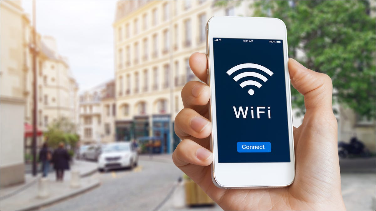 An iPhone connected to a public Wi-Fi hotspot