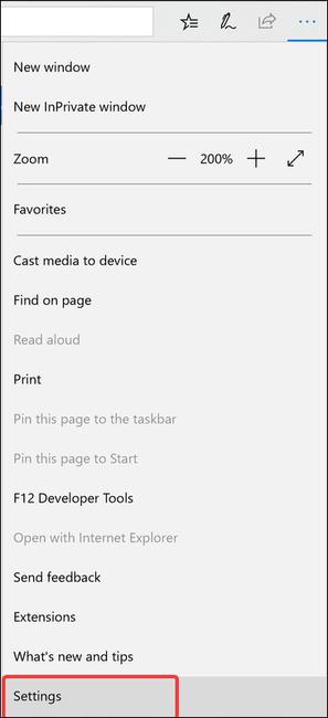 click settings in edge desktop