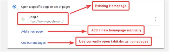 2 options to set homepage