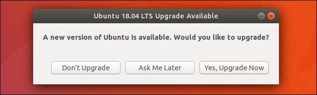 Ubuntu's Upgrade Available window.