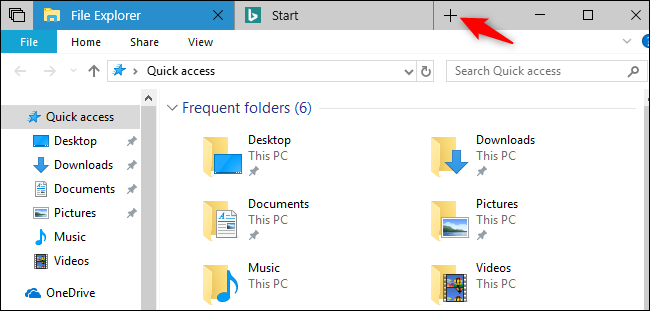 Sets on Windows 10 showing new tab button