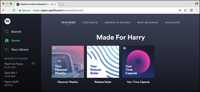 Spotify website design