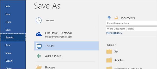 Choisissez où enregistrer le PDF converti