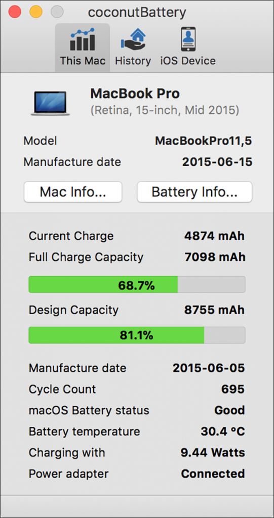 As Well The Cycle Count This Shows Us That Battery Now Has A Full Charge Capacity Of 7098 Mah When It Was New Had 8755