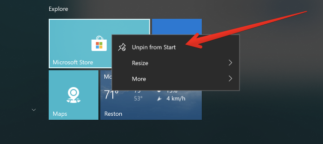 how to remove windows 10 store from search