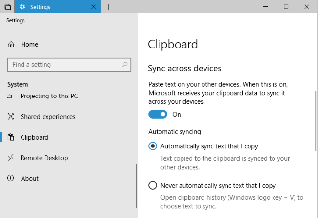 Automatic Clipboard sync across all devices turned on.