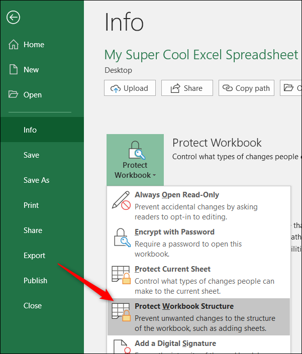 click protect workbook and choose protect workbook structure command
