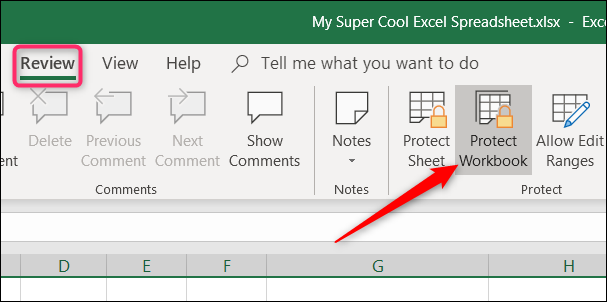 on the review tab, click protect workbook