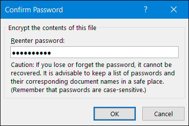 confirm password and click ok