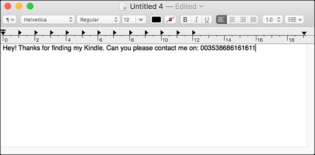 Create a text document with your info