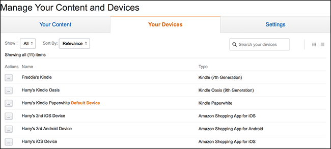 Head to the Manage Your Devices page on Amazon's website