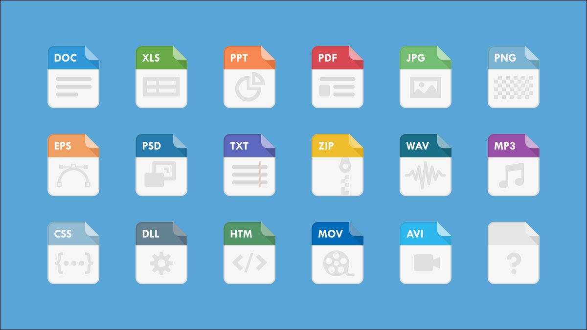 18 file extensions in a grid on a blue background