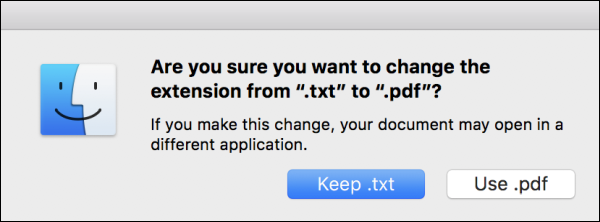 Warning message on Mac asking if you want to change a file's extensions