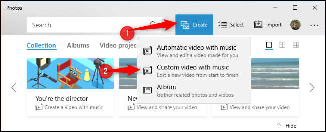 "Click the ""Create"" button and click ""Custom video with music."""