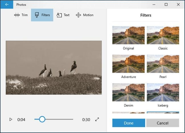 Applying Filters to a video in the Photos app.