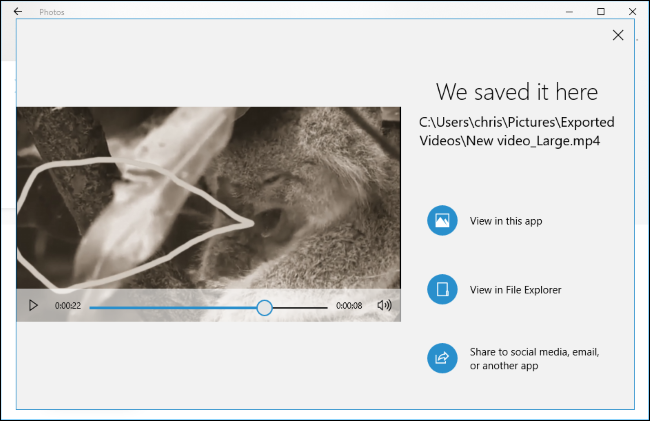 The Photos app explaining where your exported video is saved.