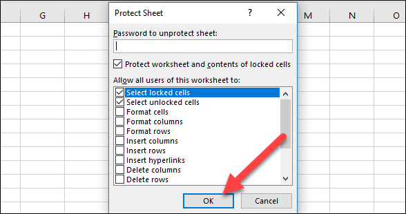 excel secure column