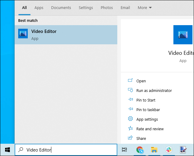Launching the Video Editor from the Start menu.