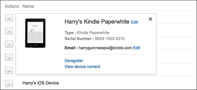 Registration info on a Kindle