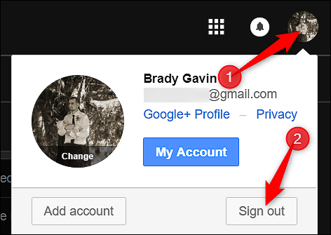 note that if you use multiple accounts that dropdown will show a list of your accounts click the one you want to sign out from and then use the sign