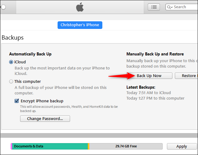 How to backup an iphone to itunes on a pc