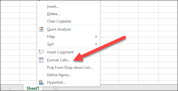 right-click selected cells and choose format cells