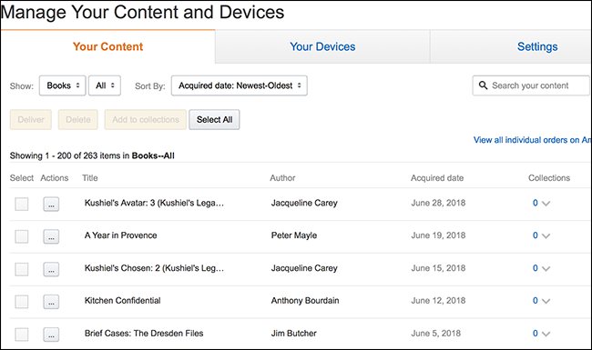 """Under the """"Your Content"""" tab on the Amazon Manage your Content and Devices page, find the book you want to reset"""