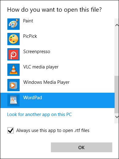 Select a program that you want to open an RTF file on Windows