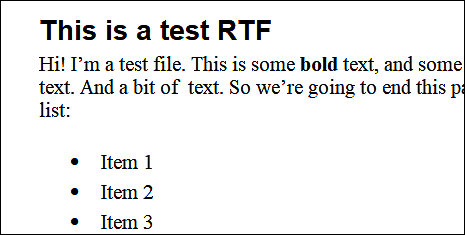 Example of a RTF file with multiple formats and styles