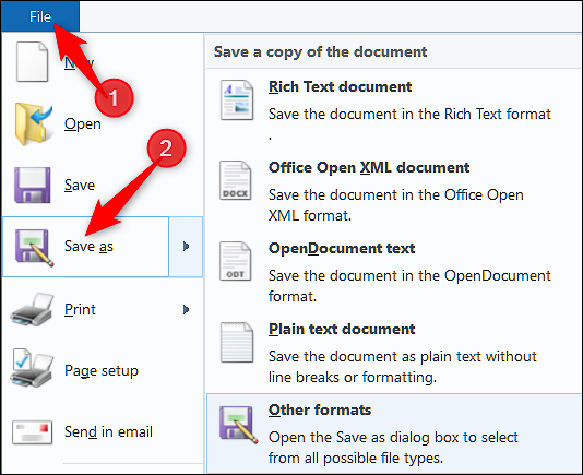 """On Windows when viewing an RTF file, click """"File,"""" select """"Save Ad,"""" and choose """"Other Formats"""""""