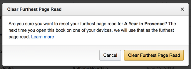 """Click the """"Clear Further Page Read"""" button from the confirmation page"""