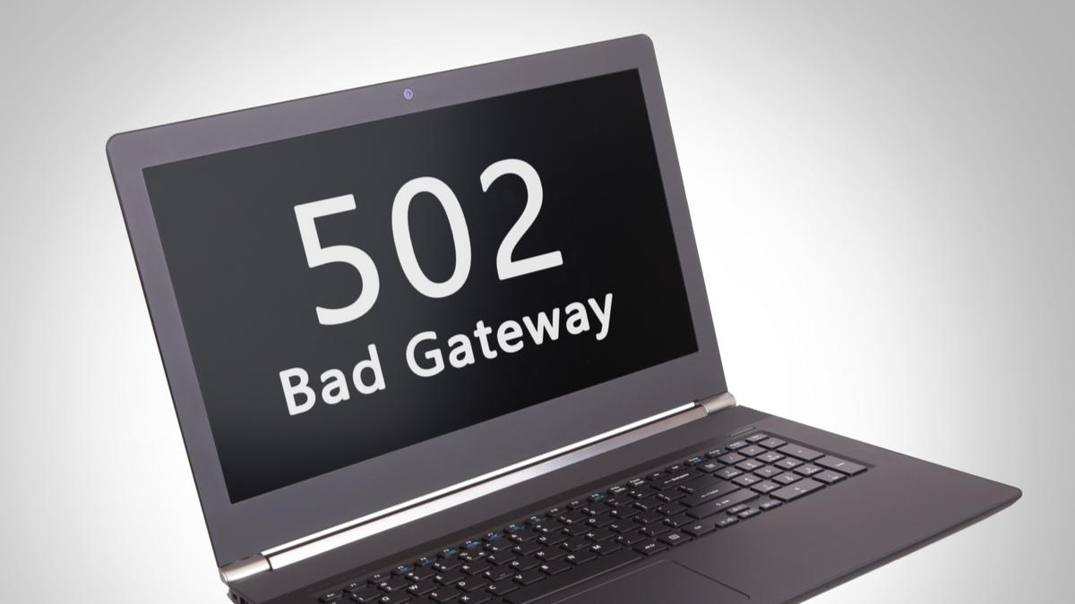 502 Bad Gateway error message on a laptop computer