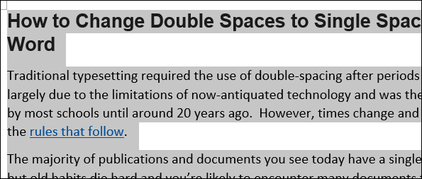 How to Change Double Spaces to Single Spaces in Microsoft Word